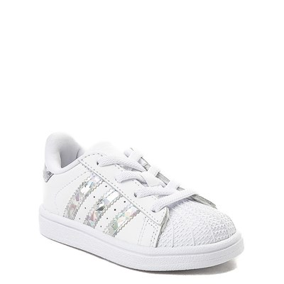 Alternate view of adidas Superstar Athletic Shoe - Baby / Toddler - White / Prismatic