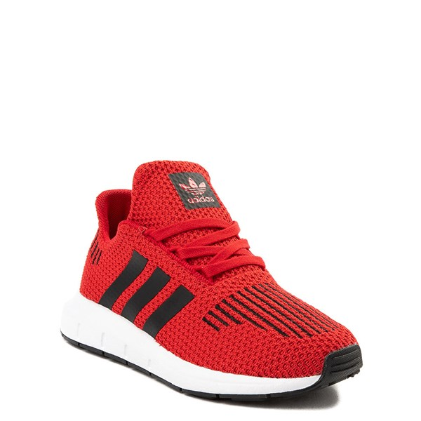 alternate view adidas Swift Run Athletic Shoe - Little Kid - Red / BlackALT1