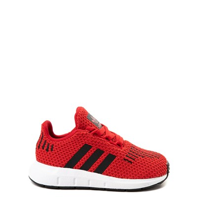 Main view of adidas Swift Run Athletic Shoe - Baby / Toddler - Red / Black