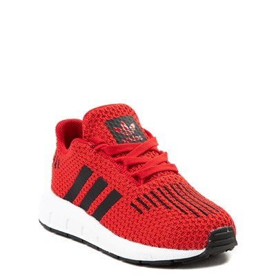 Alternate view of adidas Swift Run Athletic Shoe - Baby / Toddler - Red / Black