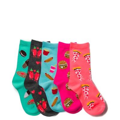 Girls Youth Junk Food 5 Pack Glow Socks