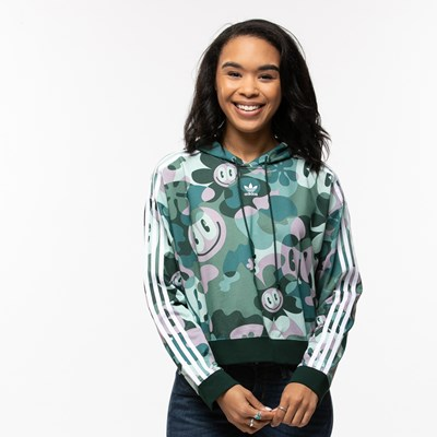 Main view of Womens adidas 3-Stripes Cropped Hoodie