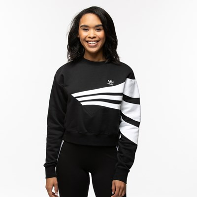 Main view of Womens adidas 3-Stripes Cropped Sweater