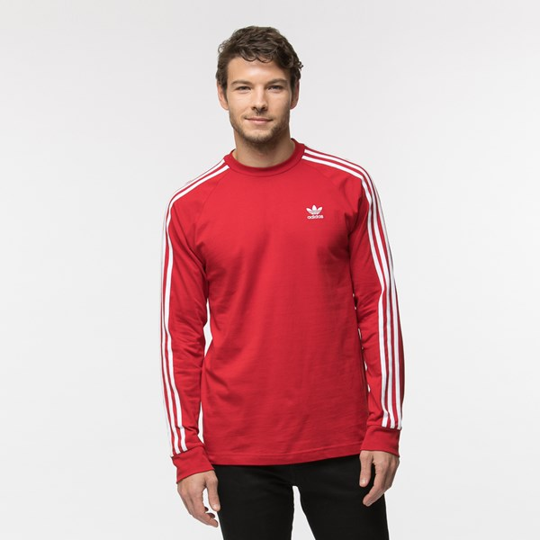 Mens adidas 3-Stripes Long Sleeve Tee - Red