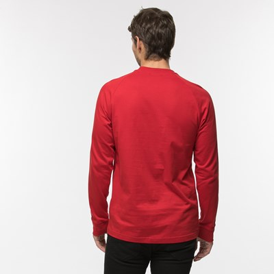 Alternate view of Mens adidas 3-Stripes Long Sleeve Tee - Red