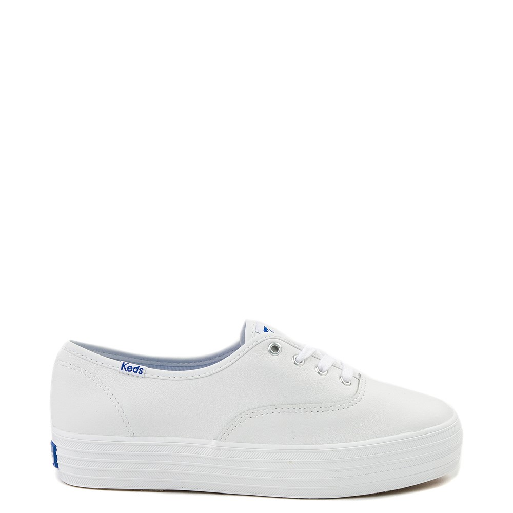 Womens Keds Triple Decker Casual Platform Shoe - White Monochrome
