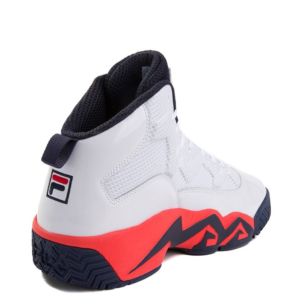 alternate view Mens Fila MB Athletic Shoe - White / Navy / OrangeALT2