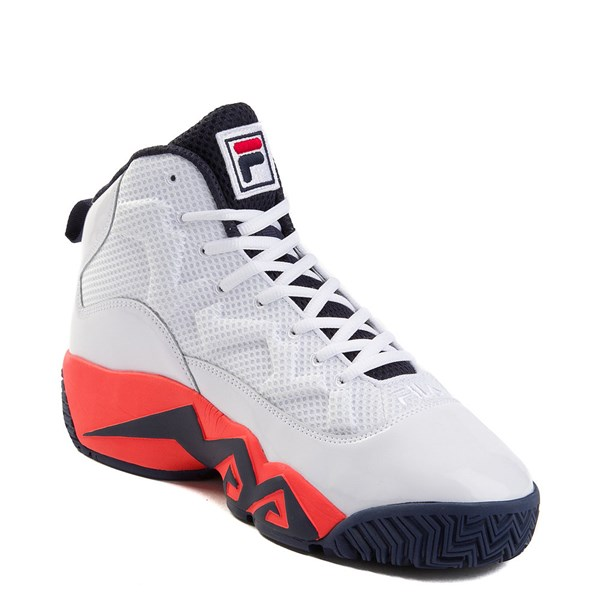 alternate view Mens Fila MB Athletic Shoe - White / Navy / OrangeALT3