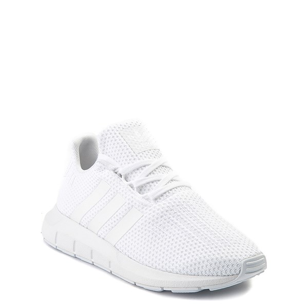 alternate view adidas Swift Run Athletic Shoe - Little Kid - White MonochromeALT1