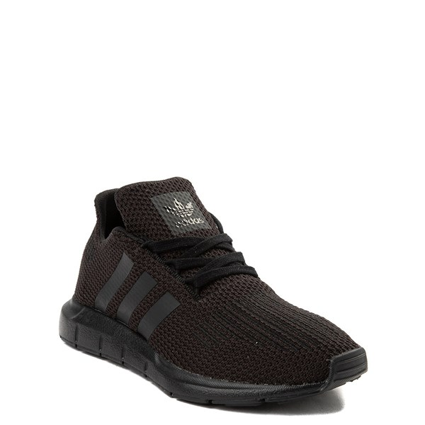 alternate view adidas Swift Run Athletic Shoe - Little Kid - Black MonochromeALT1