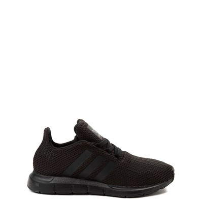 Main view of adidas Swift Run Athletic Shoe - Little Kid - Black Monochrome