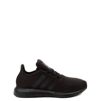 Main view of adidas Swift Run Athletic Shoe - Big Kid - Black Monochrome