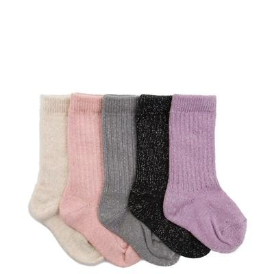 Girls Toddler Metallic Crew Socks 5 Pack