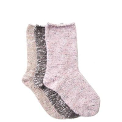 Girls Toddler Soft Marled Crew Socks 3 Pack