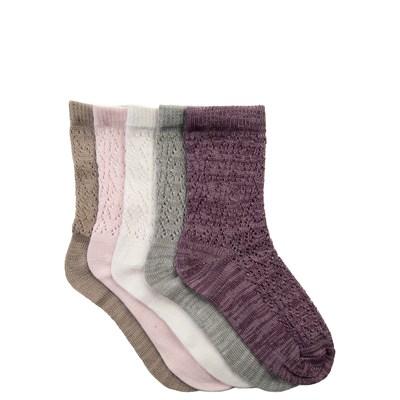 Girls Youth Pointelle Crew Socks 5 Pack