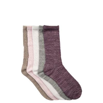 Girls Tween Pointelle Crew Socks 5 Pack