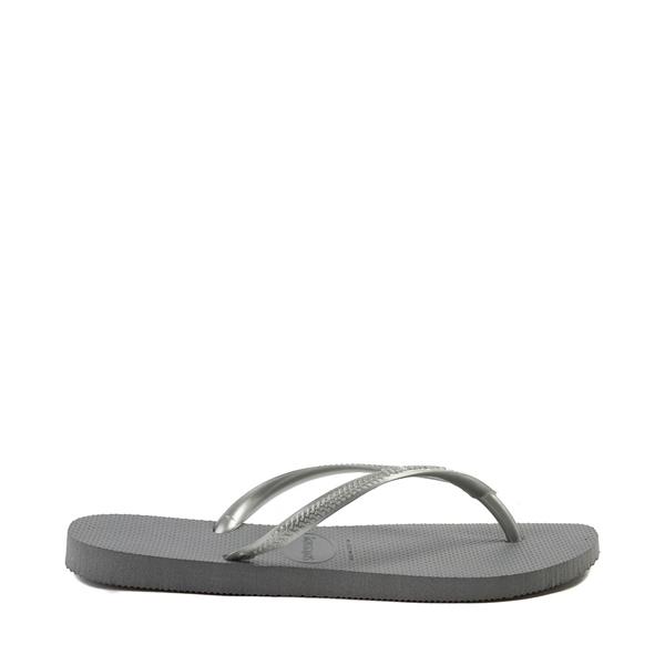 alternate view Womens Havaianas Slim Metallic Sandal - GrayALT1