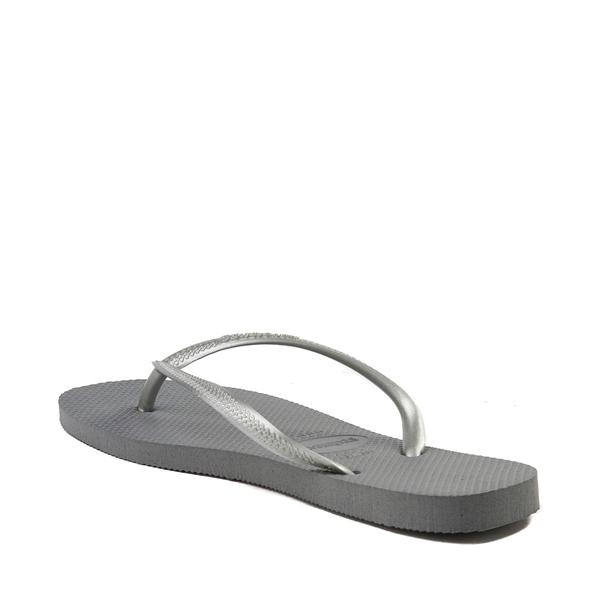 alternate view Womens Havaianas Slim Metallic Sandal - GrayALT1B
