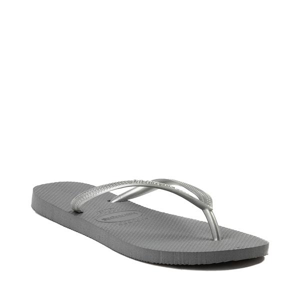 alternate view Womens Havaianas Slim Metallic Sandal - GrayALT5