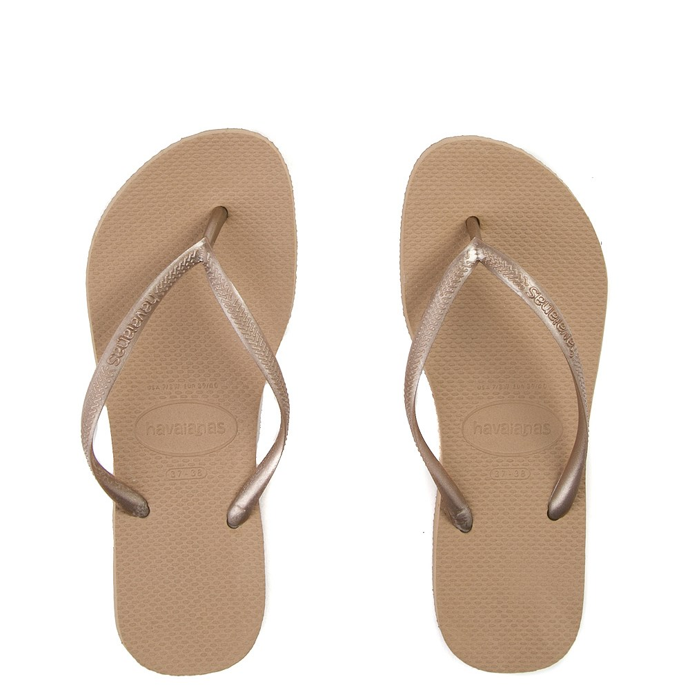 Womens Havaianas Slim Metallic Sandal - Rose Gold