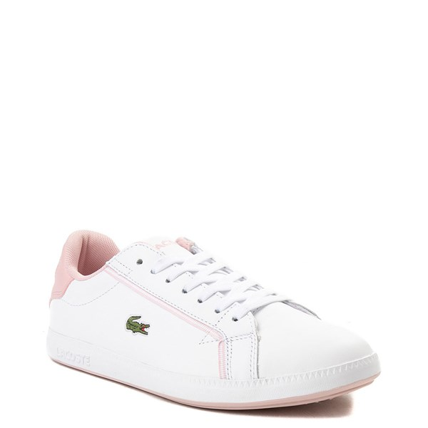 alternate view Womens Lacoste Graduate Athletic Shoe - White / PinkALT1