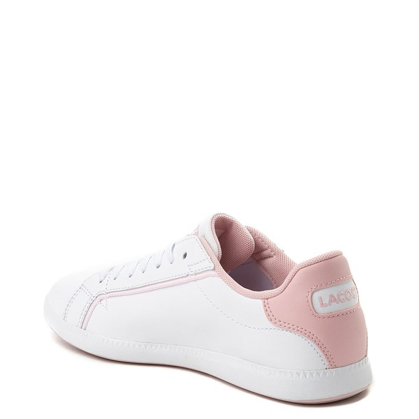 alternate view Womens Lacoste Graduate Athletic Shoe - White / PinkALT2