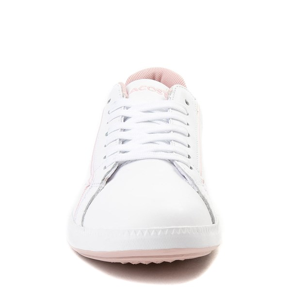 alternate view Womens Lacoste Graduate Athletic Shoe - White / PinkALT4