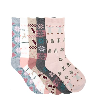 Main view of Womens Winter Sweater Crew Socks 5 Pack