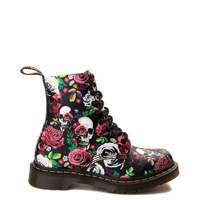 Womens Dr. Martens Pascal 8-Eye Rose Skull Boot