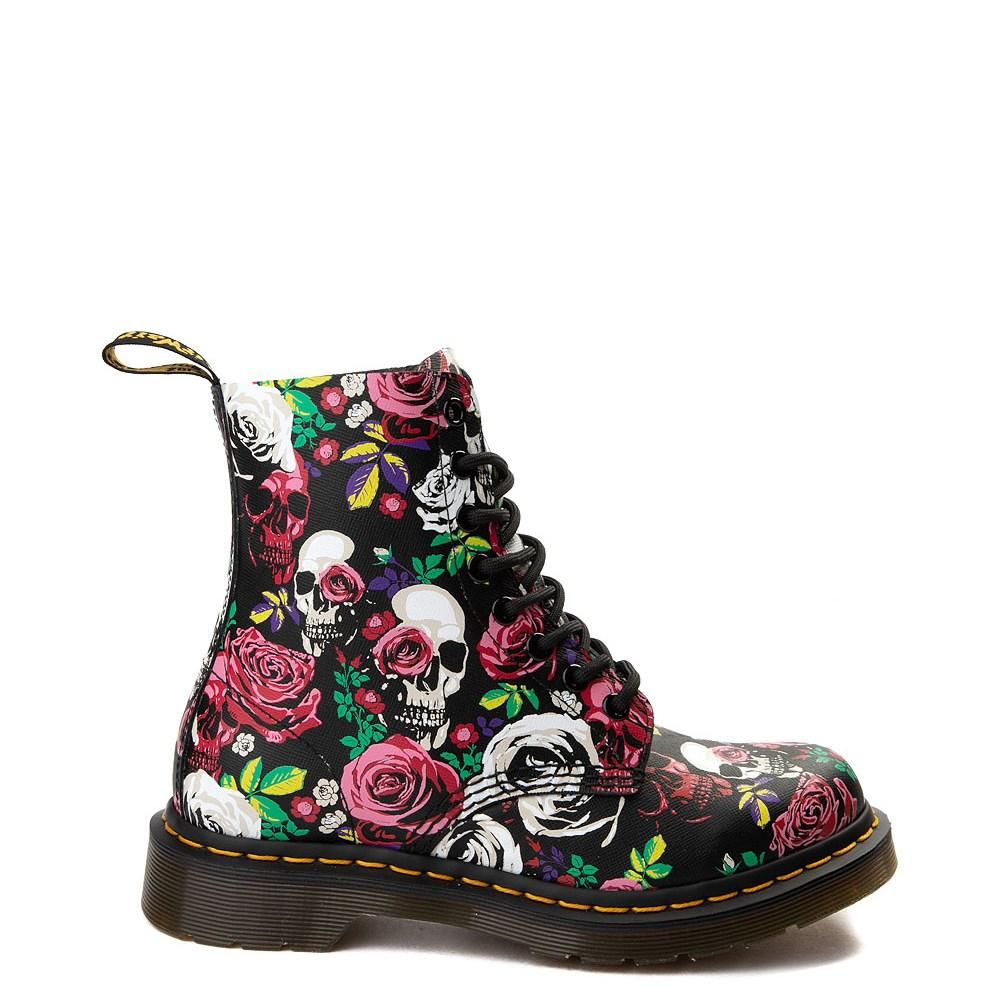 Womens Dr. Martens Pascal 8-Eye Rose Skull Boot