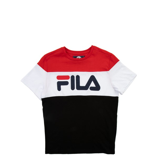 Fila Colorblock Logo Tee - Little Kid / Big Kid - White / Black / Red