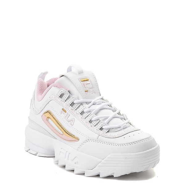 alternate view Fila Disruptor 2 Athletic Shoe - Big Kid - White / Pink / GoldALT1
