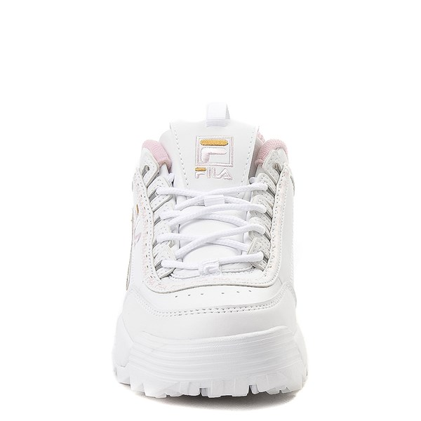 alternate view Fila Disruptor 2 Athletic Shoe - Big Kid - White / Pink / GoldALT4