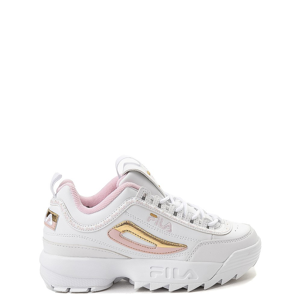 Fila Disruptor 2 Athletic Shoe - Big Kid - White / Pink / Gold