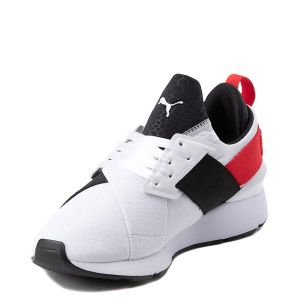 alternate view Womens Puma Muse Croc Athletic Shoe - White / Black / RedALT3
