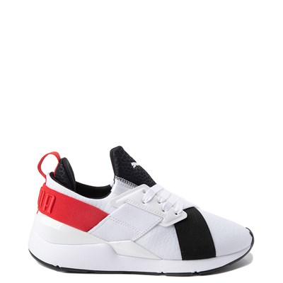 Main view of Womens Puma Muse Croc Athletic Shoe - White / Black / Red
