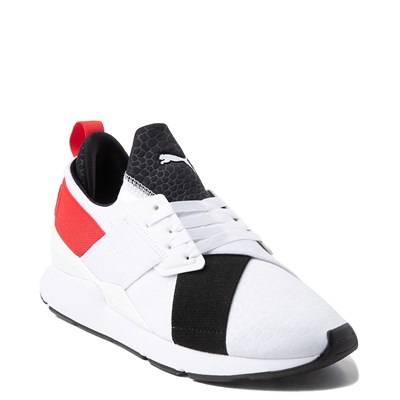 Alternate view of Womens Puma Muse Croc Athletic Shoe - White / Black / Red