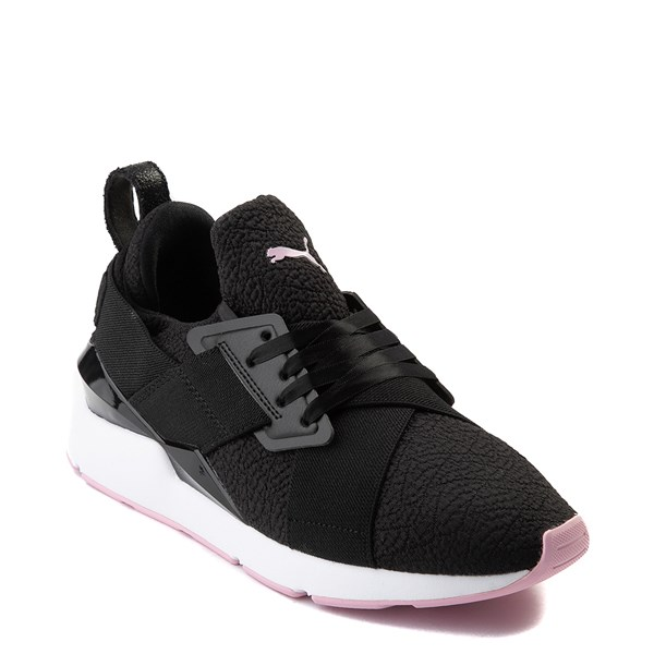 alternate view Womens Puma Muse TZ Athletic Shoe - Black / Pale PinkALT1