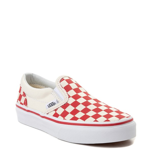 alternate view Vans Slip On Checkerboard Skate Shoe - Little Kid / Big Kid - Racing RedALT1