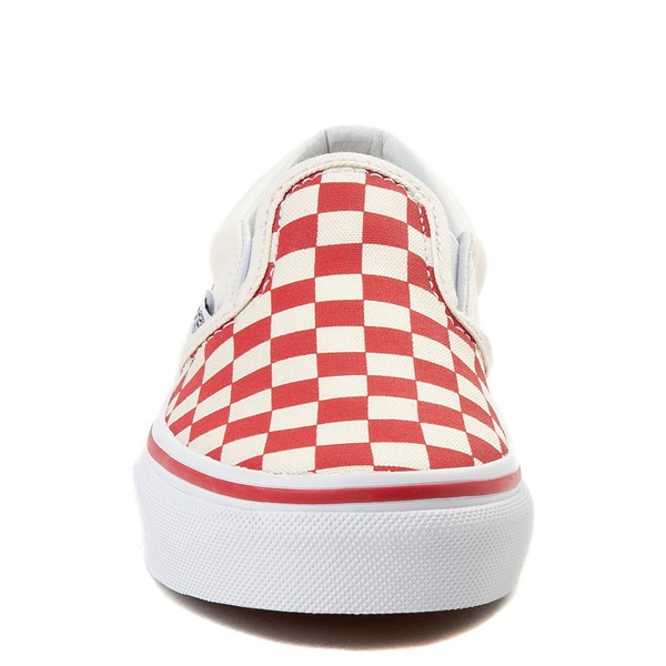 alternate view Vans Slip On Checkerboard Skate Shoe - Little Kid / Big Kid - Racing RedALT4