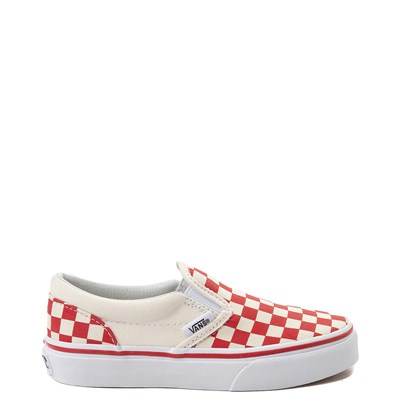Main view of Vans Slip On Checkerboard Skate Shoe - Little Kid / Big Kid - Racing Red