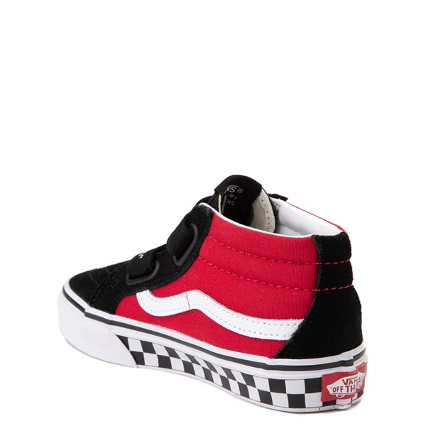 alternate view Vans Sk8 Mid Reissue V Logo Pop Checkerboard Skate Shoe - Little Kid - Black / RedALT1
