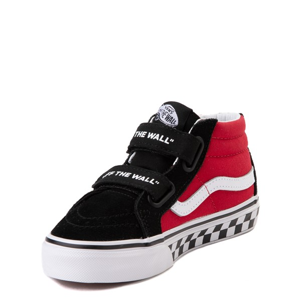 alternate view Vans Sk8 Mid Reissue V Logo Pop Checkerboard Skate Shoe - Little Kid - Black / RedALT2