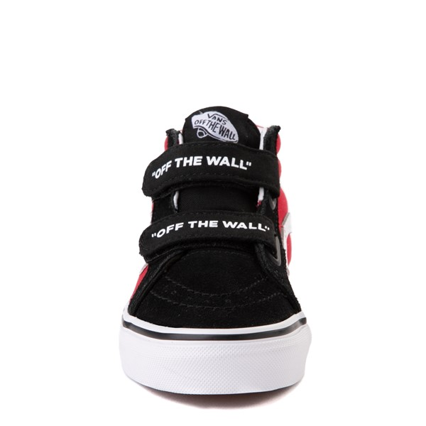 alternate view Vans Sk8 Mid Reissue V Logo Pop Checkerboard Skate Shoe - Little Kid - Black / RedALT4