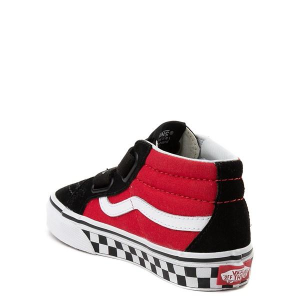 alternate view Vans Sk8 Mid Reissue V Logo Pop Checkerboard Skate Shoe - Little Kid - Black / RedALT2