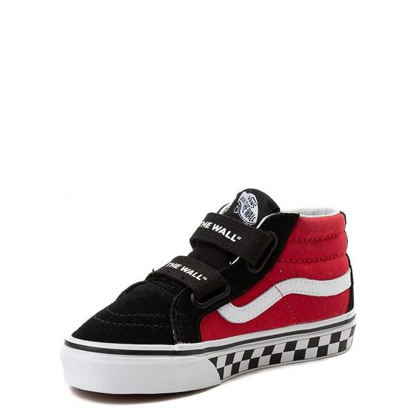 alternate view Vans Sk8 Mid Reissue V Logo Pop Checkerboard Skate Shoe - Little Kid - Black / RedALT3