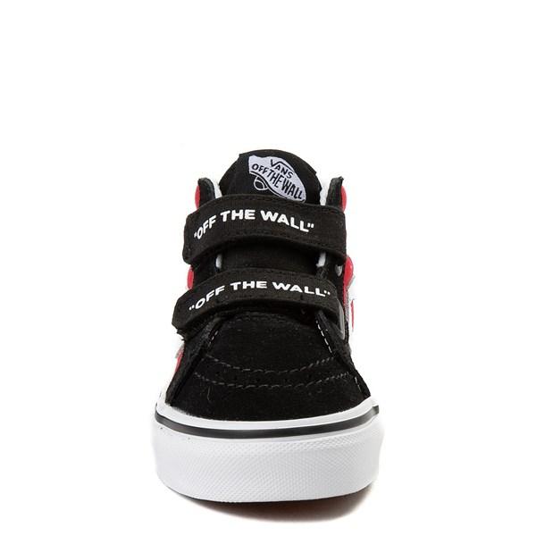 alternate view Vans Sk8 Mid Reissue V Logo Pop Checkerboard Skate Shoe - Little Kid - Black / RedALT4