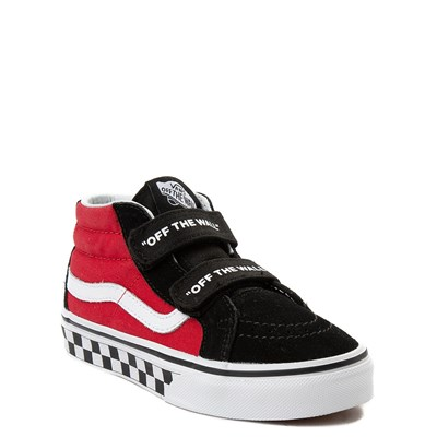 Alternate view of Vans Sk8 Mid Reissue V Logo Pop Checkerboard Skate Shoe - Little Kid - Black / Red