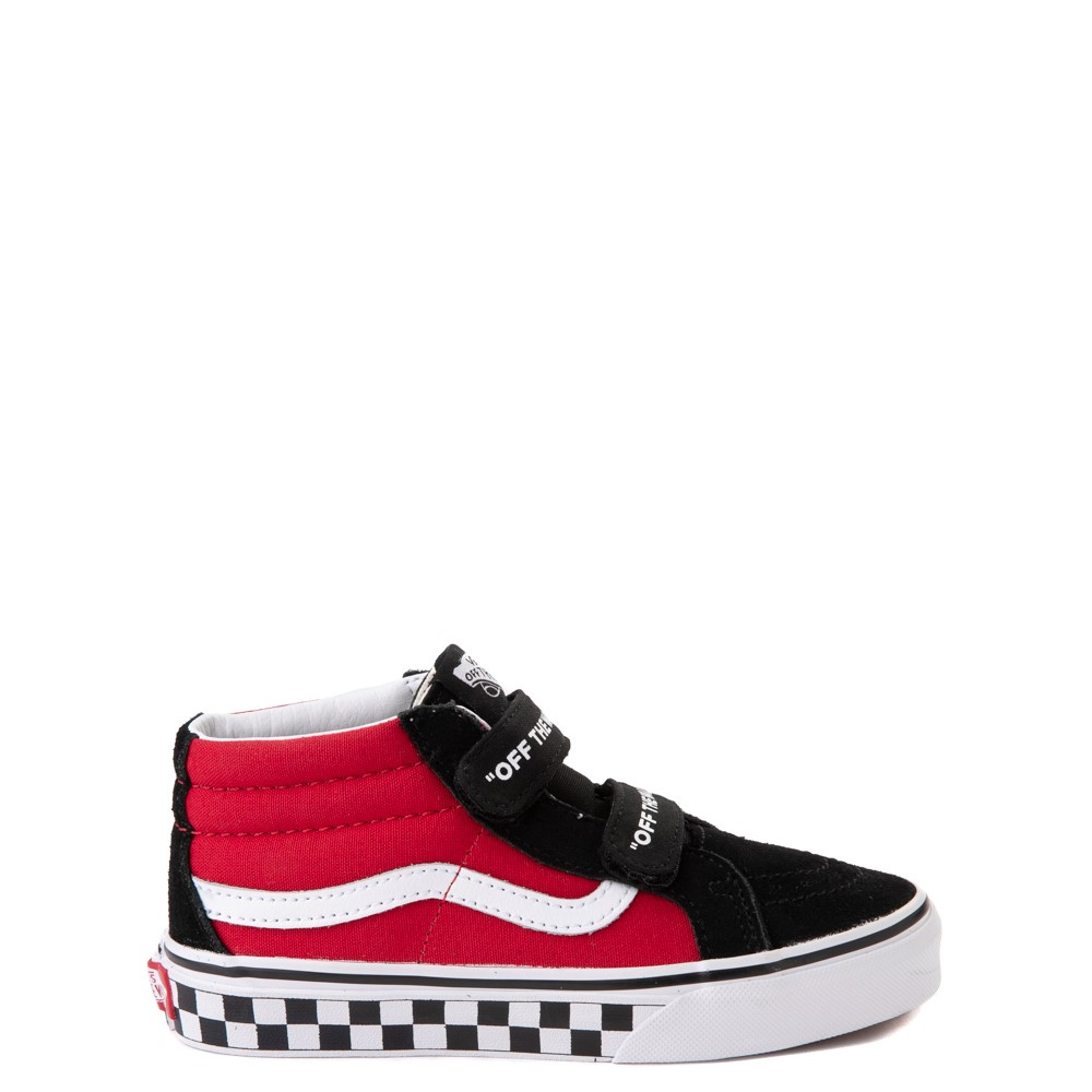 Vans Sk8 Mid Reissue V Logo Pop Checkerboard Skate Shoe - Little Kid - Black / Red