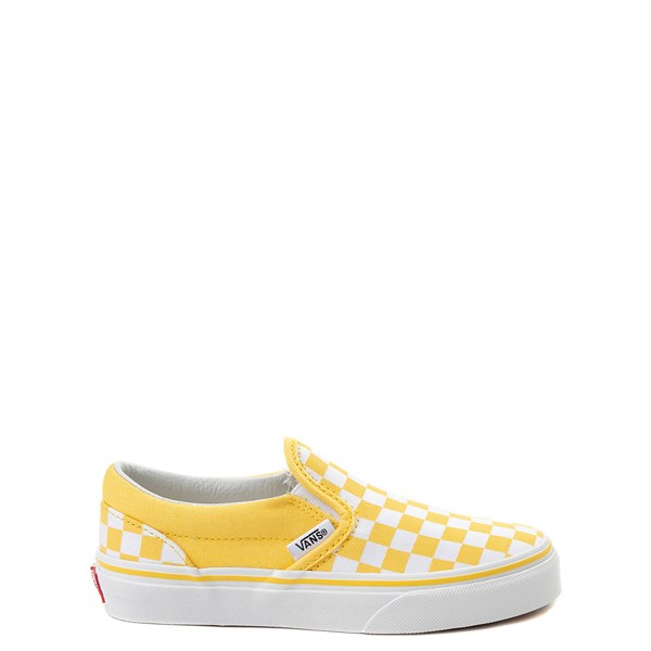 Default view of Vans Slip On Checkerboard Skate Shoe - Little Kid / Big Kid - Aspen Gold / White